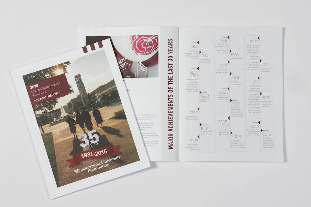 Missouri State University Foundation Board of Trustees and members receive an annual report each fall during the yearly meeting held prior to Homecoming.