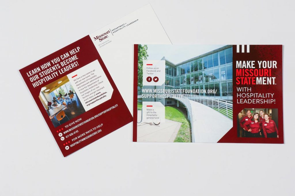 The hospitality leadership postcard addresses the alumni and donor campaign.
