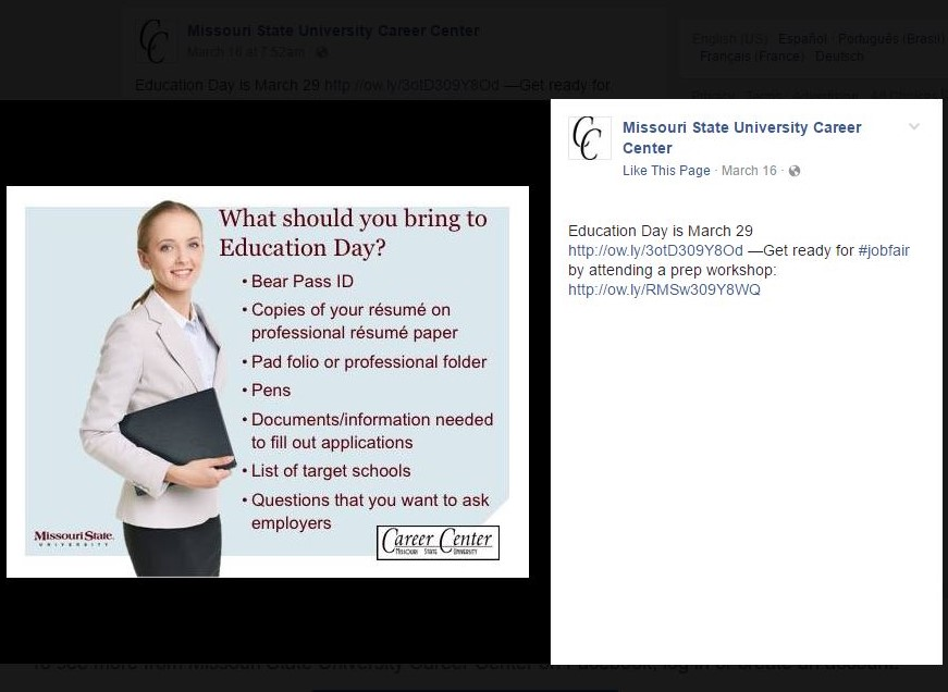 Inspiration: Missouri State Career Center Facebook post