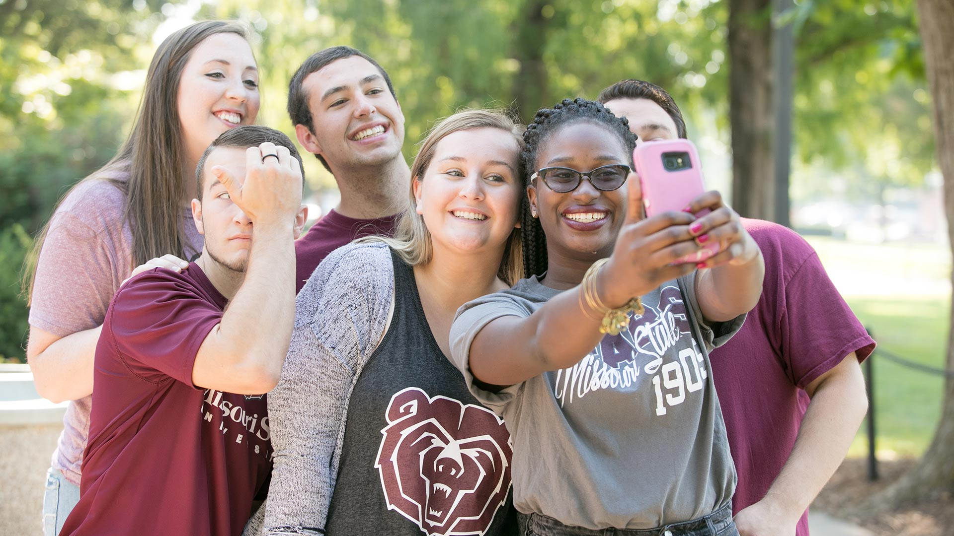 Missouri State students taking a group selfie.
