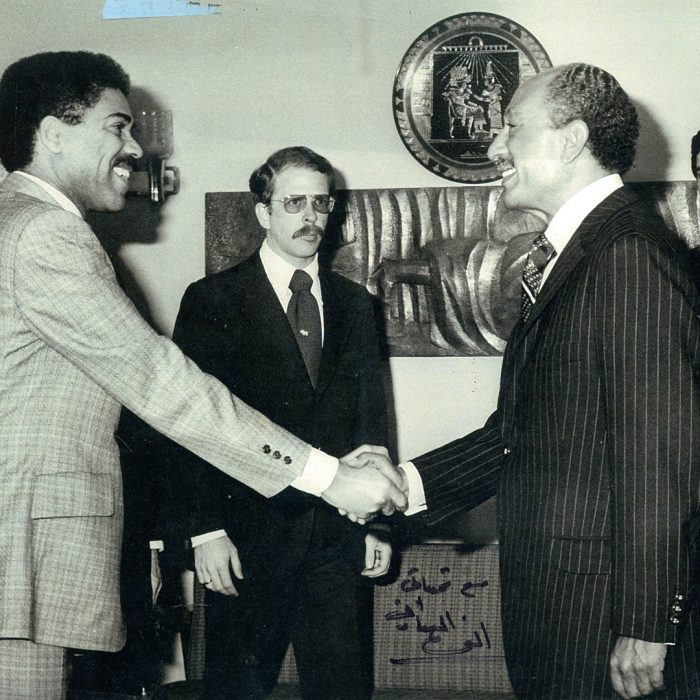 Bill Clay meeting President Anwar Sadat