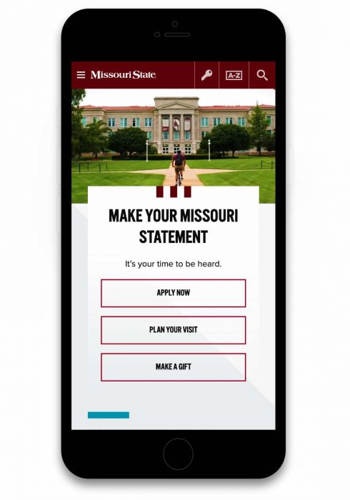 New Missouri State University homepage on mobile view.
