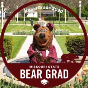 Missouri State Bear Grad on maroon with graduation cap
