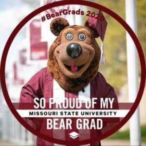 """So proud of my Bear Grad"" in maroon and white"