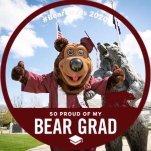 """So proud of my Bear Grad"" with walking Bear"
