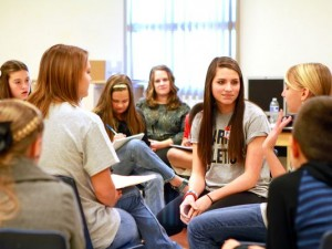 students in peer mediation training