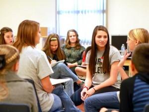 students in peer mediation training