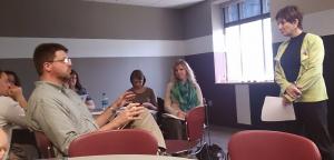 Dr. Gloria Galanes presents at a campus conflict workshop.