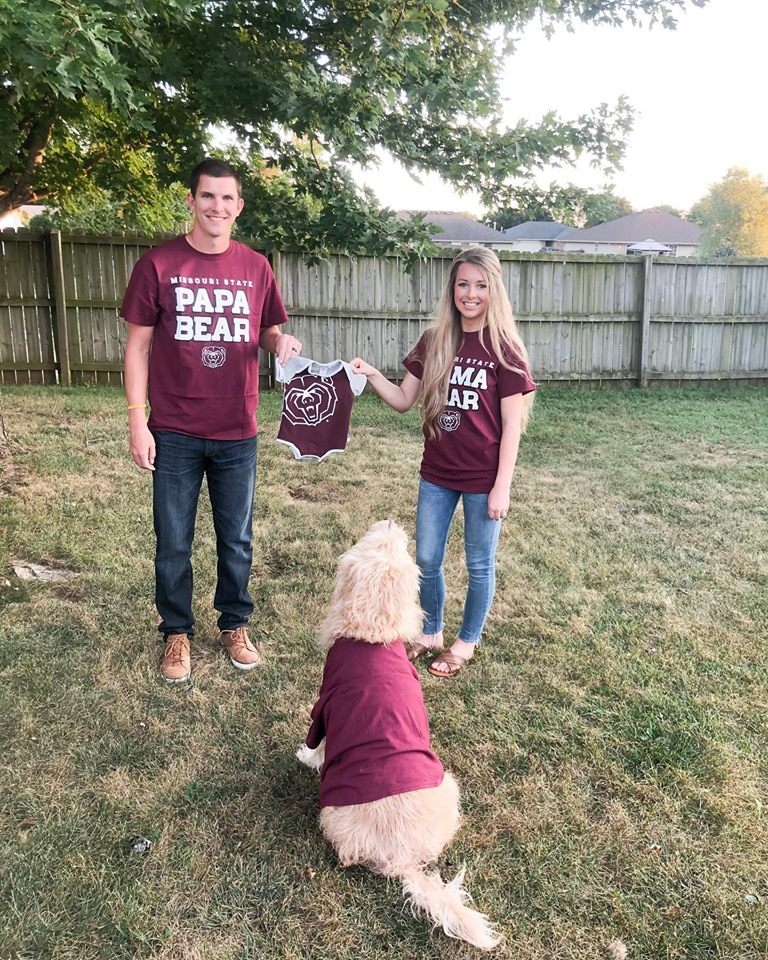 Brandon Ridder and Jessica Ridder make pregnancy announcement by holding up Missouri State onesie