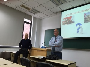 Dr. Hickey presenting guest lecture at People's University.