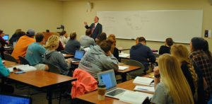 Dr. Victor Matthews lecturing for Dr. Erin Darby's REST 311 class, Intro to the Hebrew Bible.