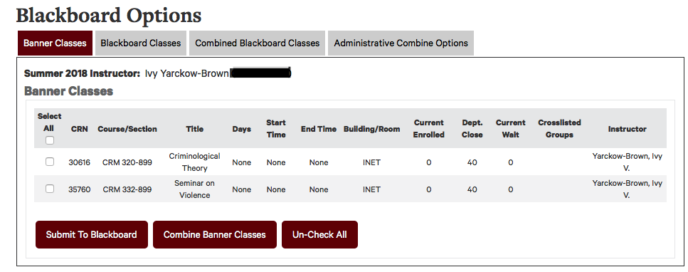 List of faculty courses available to send to Blackboard