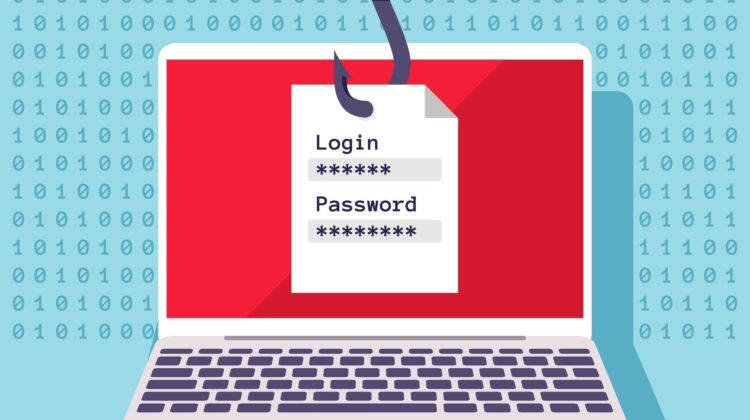 Phishing message requesting Login and Password dangling from a phishing hook over a laptop