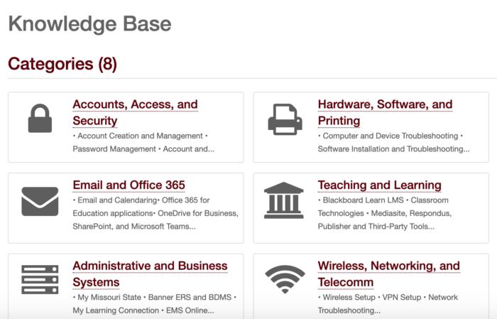 Knowledge Base page on the Help Desk Service Portal