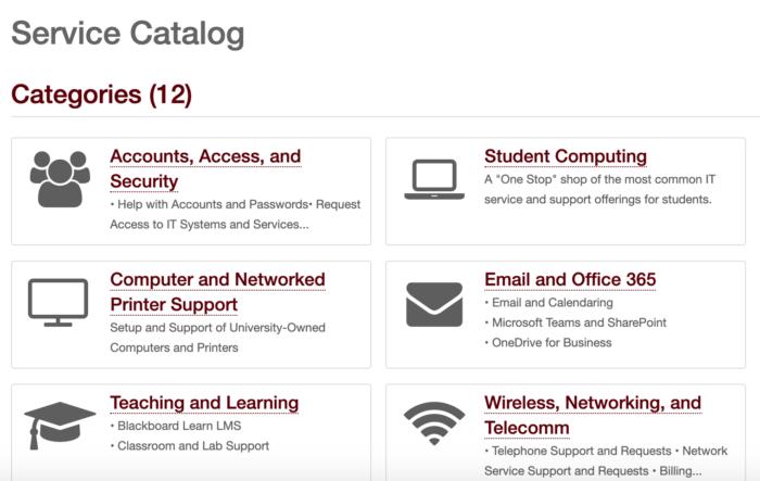 Service Catalog page on the Help Desk Service Portal
