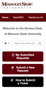 Help Desk Service Portal Home Page