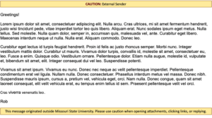 """Screenshot of an email with an alert at the top that reads """"CAUTION: External Sender"""" and an alert at the bottom that reads """"This message originated outside Missouri State University. Please use caution when opening attachments, clicking links, or replying."""""""