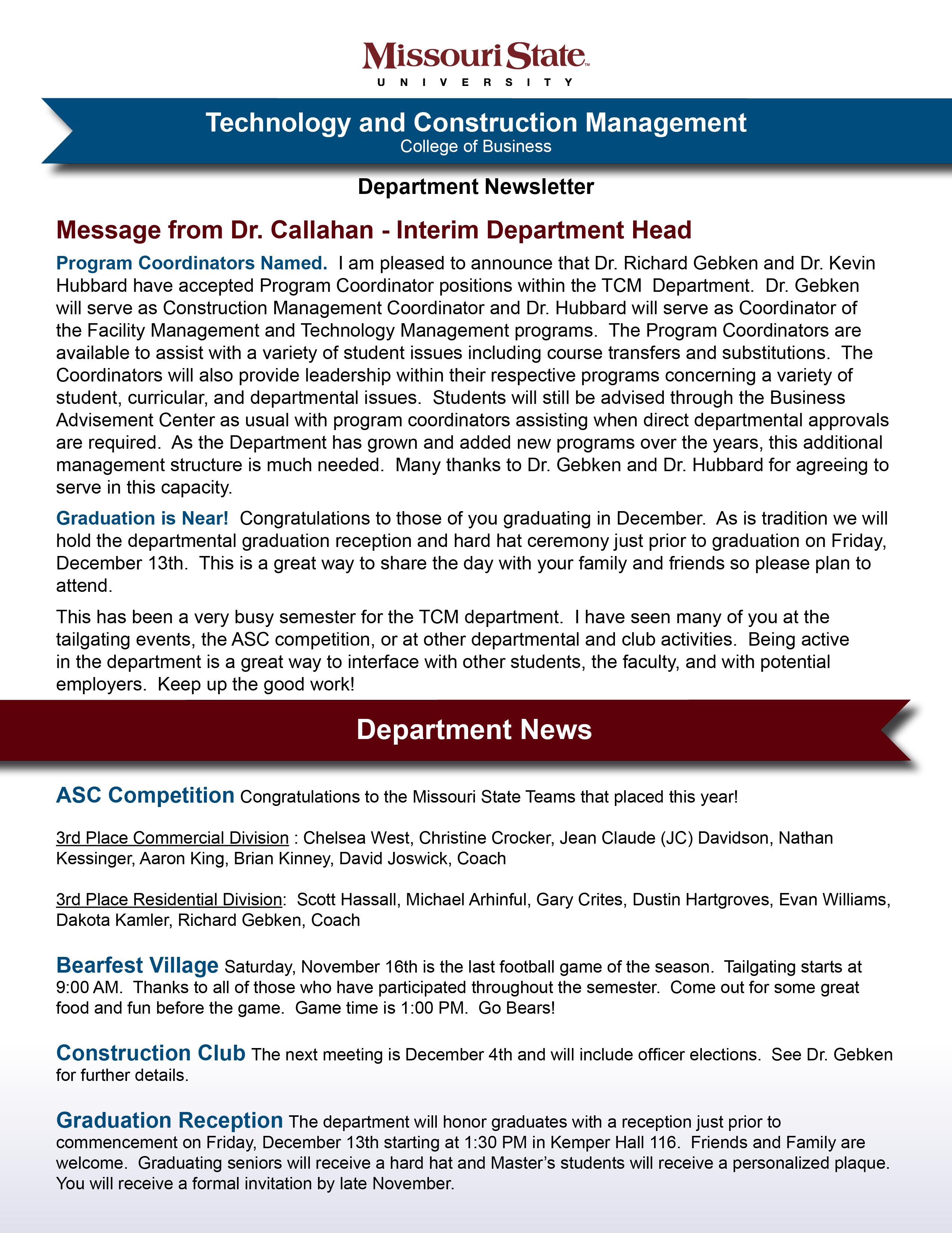 TCM Newsletter November 2013
