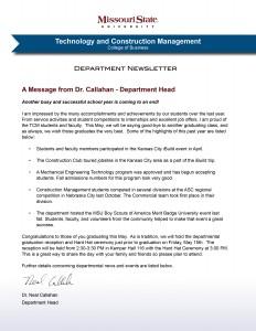TCM Newsletter Spring 2015 (January)