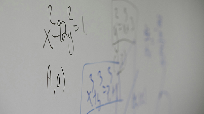 Math problems on a white board