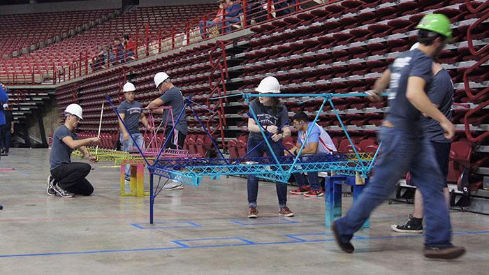 Students working on the steel bridge