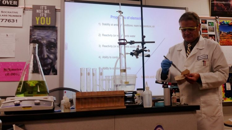 Middle school students have visitor: chemistry
