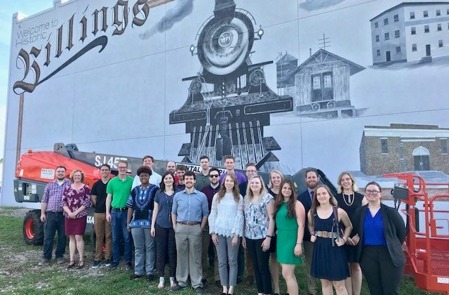 Students in front of the new Billings mural