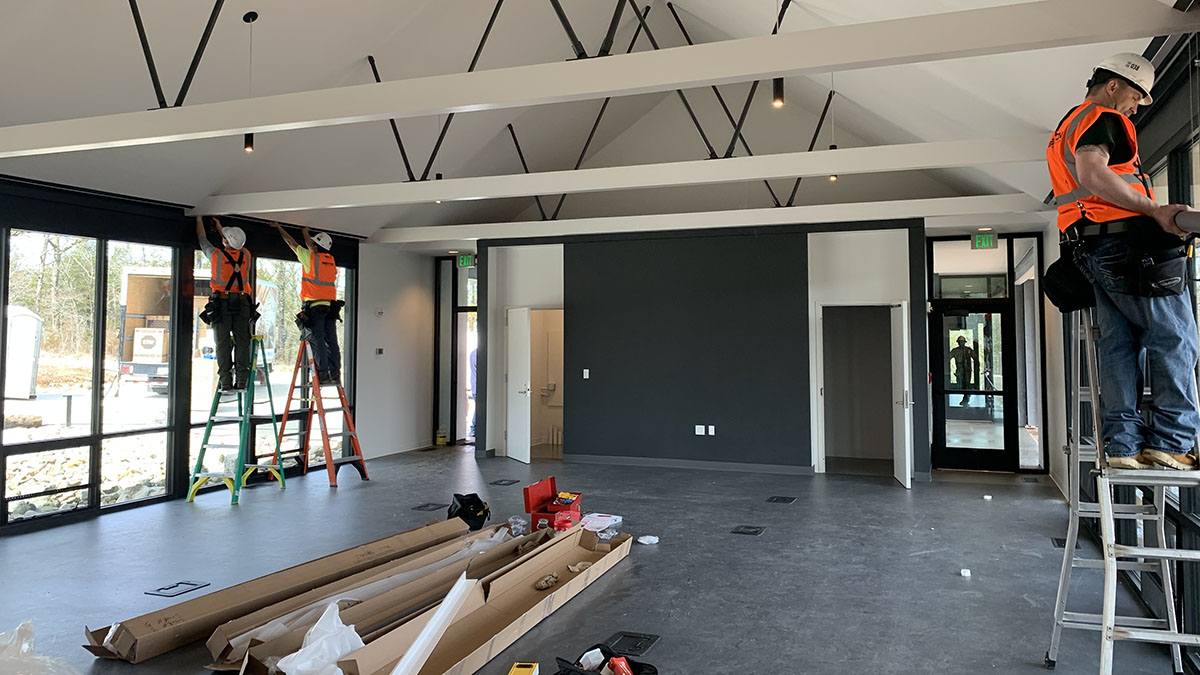 Bull Shoals Field Station conference room mid-construction