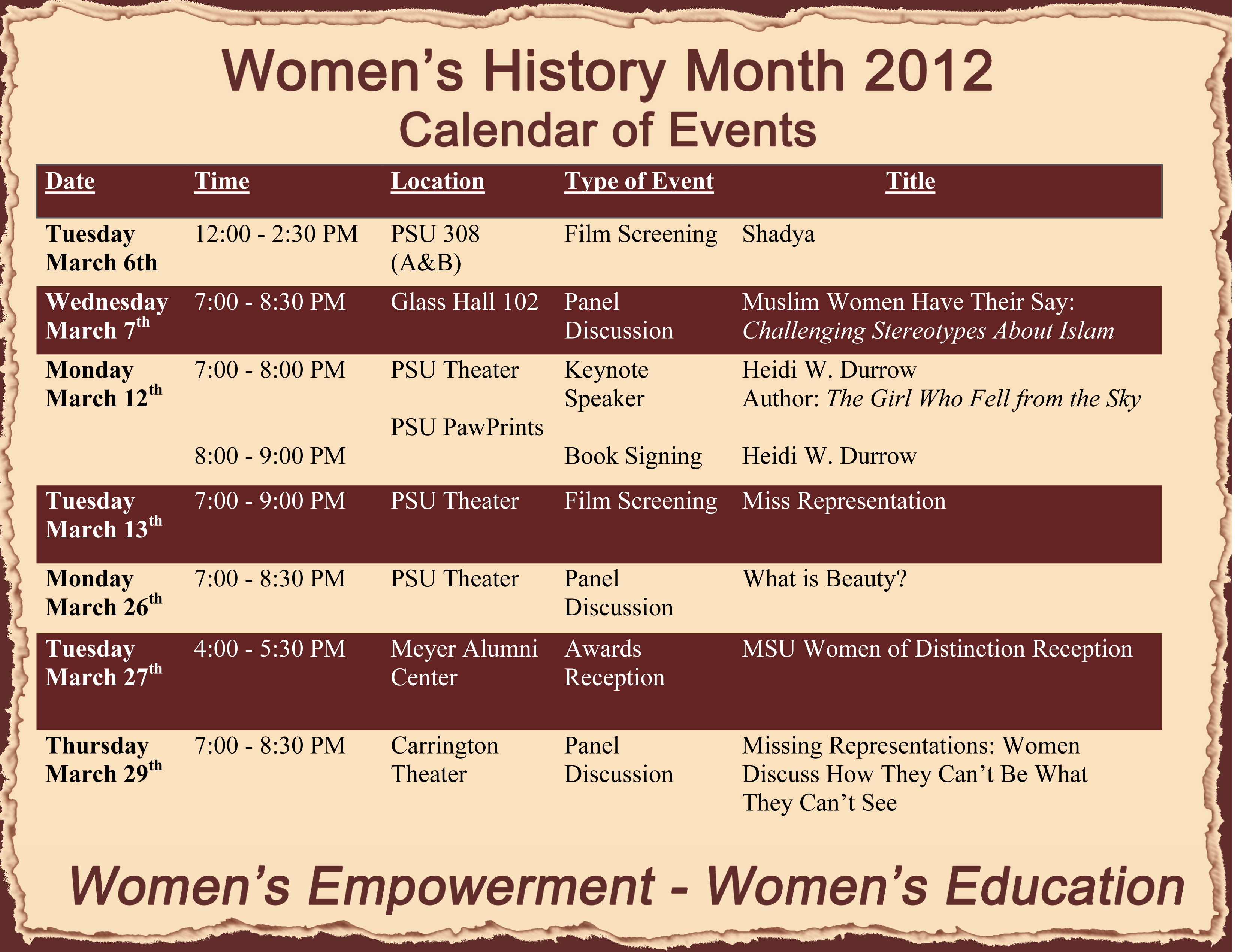 Women's History Month events include panels, films, book discussion