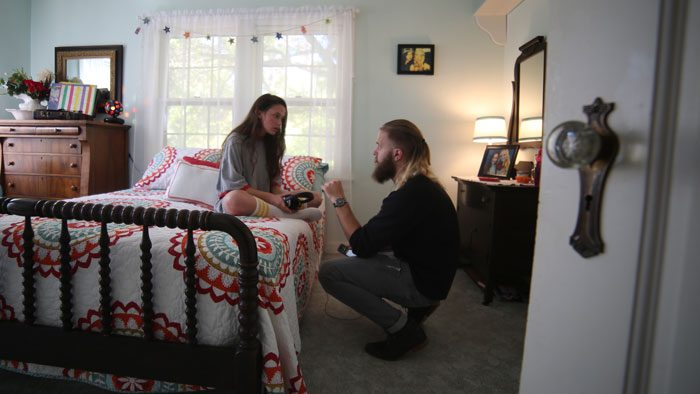 Josh Pfaff outlines a scene with actress Cailee Spaeny