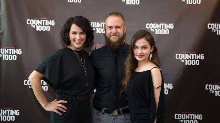 Josh Pfaff poses with Cailee Spaeny at Counting to 1000 premiere