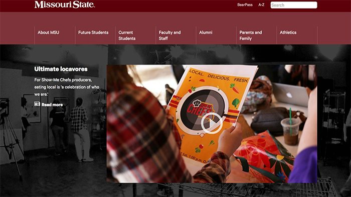 Show-Me Chefs featured on the homepage of MissouriState dot edu