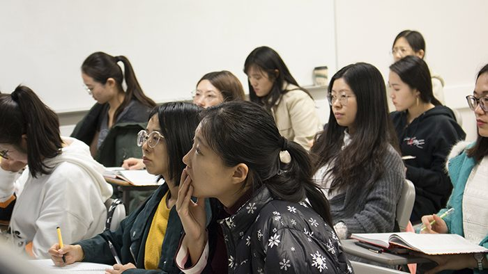 Students listening intently in class