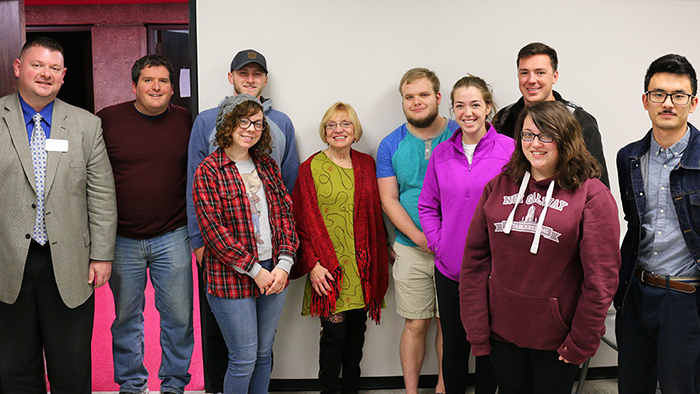 Kay Alden Nelson with Missouri State students and faculty