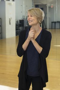 Lisa Brescia teaching a voice and movement class at Missouri State University
