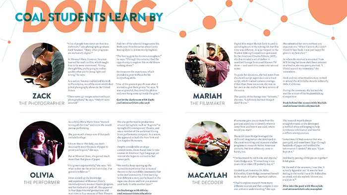 Image of student stories in the magazine; full stories available at coal.missouristate.edu/magazine