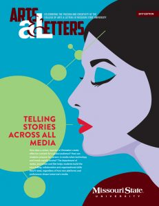 "The cover of Arts and Letters Magazine, ""Telling Stories Across All Media"""