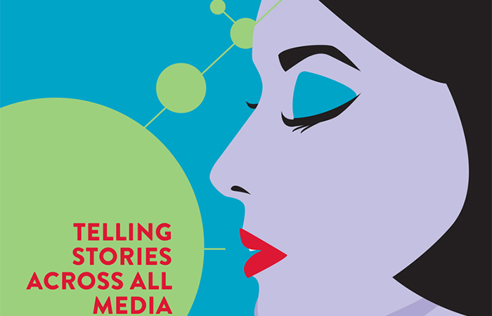 "Excerpt of the cover design of Arts and Letters Magazine (2017 edition) with the cover story ""Telling Stories Across All Media"""