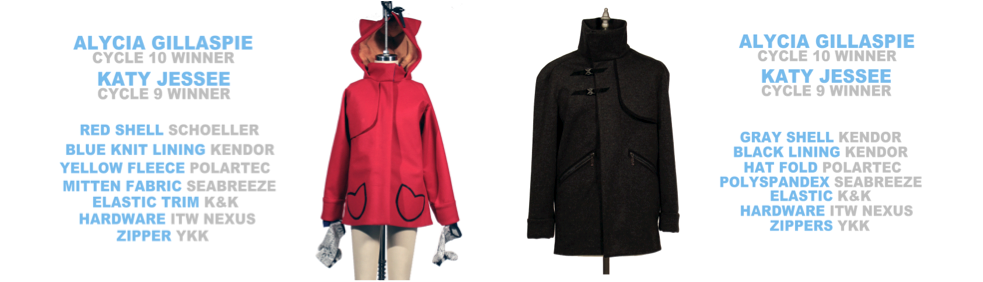 Winning designs by Katy Jessee and Alicia Gillaspie. A red children's coat and black men's coat.