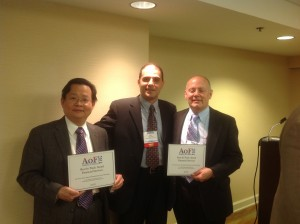 Dr. Chang and Tom Krueger with Academy of Finance President Alex Meisami at the 2014 Academy of Finance Meeting and Annual Dinner in Chicago, IL, on March 27, 2014.