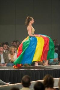 female model in striped ball skirt
