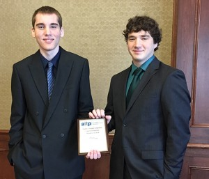 First place in Mobile App Development:  Mitchell Marlow and Greg Donnell (CSC majors from the College of Natural and Applied Sciences)