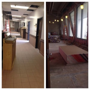 The 3rd floor east hallway - former faculty office space being converted into the new expansion.