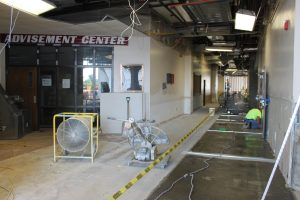 Terrazzo flooring was installed on the first floor in July.