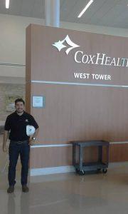 Sergio Lescano inside Cox Health as part of his internship.