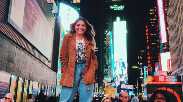 Katie Sulzner in Times Square in New York City.