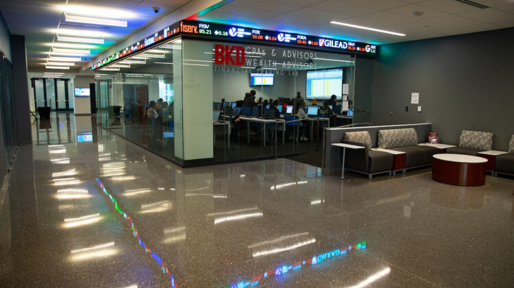 Outside financial trading lab in Glass Hall.