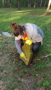 MSU student doing restoration to a gravestone in the cemetery.