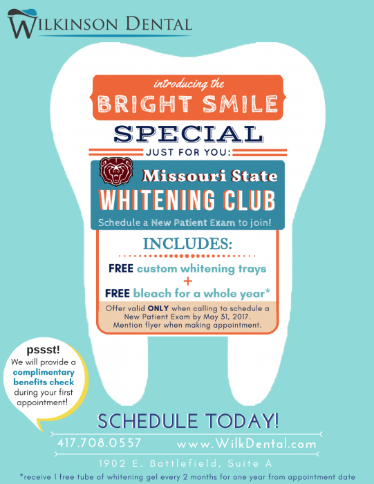 A poster about the whitening special.