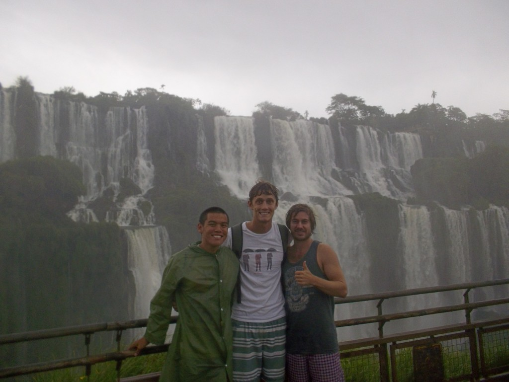 At Iguazú Waterfalls with some new Australian friends, Andrew and Andrew, I met while I was traveling during the summer.
